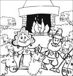Coloriage Chanson Il pleut Bergère, tous les moutons sont dans la bergerie
