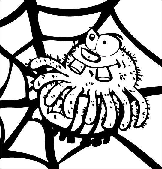 Coloriage pour enfants. Coloriage chanson L'araignée, l'araignée attrape le frelon, thème Araignée