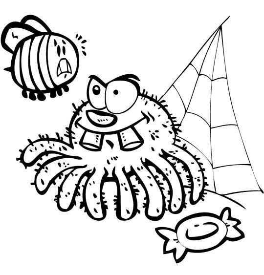 Coloriage pour enfants. Coloriage L'araignée, l'araignée et le frelon, thème Insecte