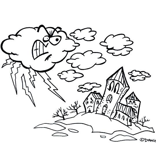 Coloriage pour enfants. Coloriage  L'Orage, l'orage en colère gronde, catégorie Chanson pour enfants L'Orage