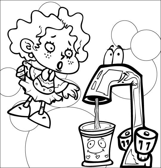 Coloriage pour enfants. Coloriage La Brosse à Dents, l'eau coule dans le gobelet, catégorie Chanson pour enfants La Brosse à Dents