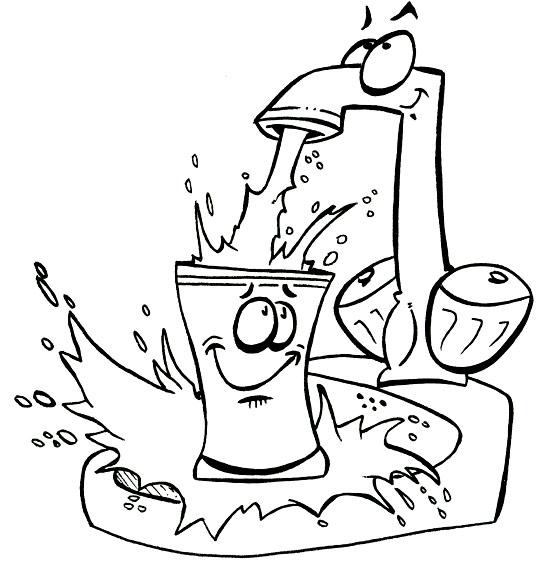 Coloriage pour enfants. Coloriage La Brosse à Dents, l'eau s'échappe du robinet, catégorie Chanson pour enfants La Brosse à Dents