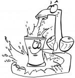 Coloriage Chanson La Brosse à Dents, l'eau s'échappe du robinet