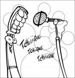 Coloriage Chanson La Brosse à Dents, la brosse chante devant le micro