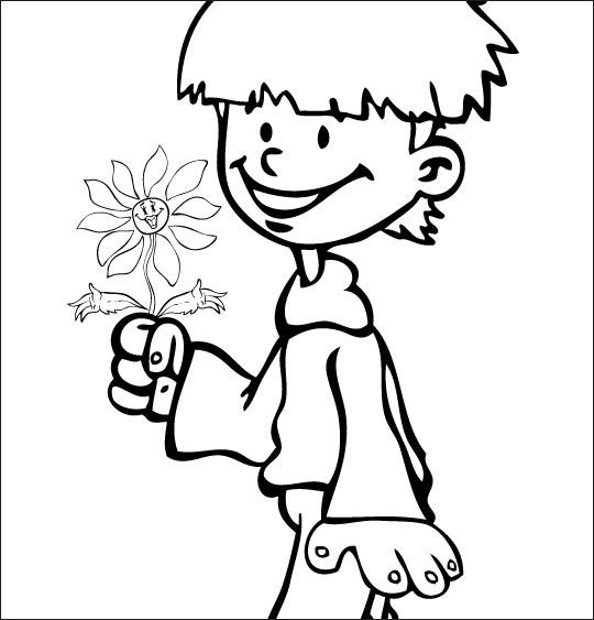 Coloriage pour enfants. Coloriage La Fleur de toutes les Couleurs, je t'offre cette fleur, catégorie Chanson fête des mères La Fleur de toutes les Couleurs