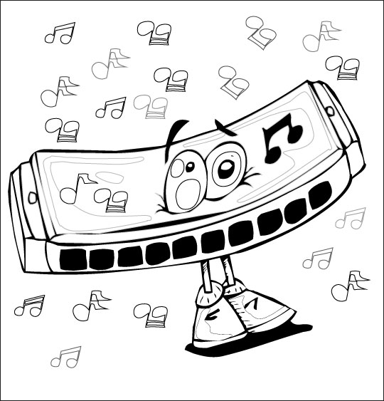 Coloriage Chanson La Fleur de toutes les Couleurs, l'harmonica
