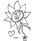 Coloriage Chanson La Fleur de toutes les Couleurs, la fleur en gros plan