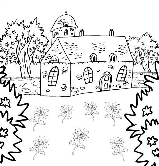 Coloriage pour enfants. Coloriage La Fleur de toutes les Couleurs, la maison du bonheur, thème Fête des mères