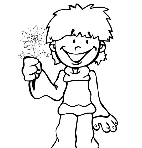 Coloriage pour enfants. Coloriage La Fleur de toutes les Couleurs, pour toi maman, catégorie Chanson fête des mères La Fleur de toutes les Couleurs
