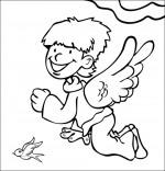 Coloriage Chanson La Fleur de toutes les Couleurs, un ange et une hirondelle