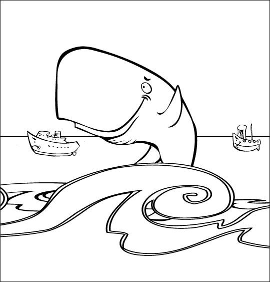 Coloriage pour enfants. Coloriage chanson La Java du Cachalot, Jo en pleine mer, thème Cachalot