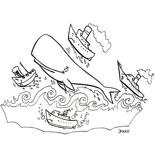 Coloriage Chanson La Java du Cachalot, Jo joue avec les bateaux