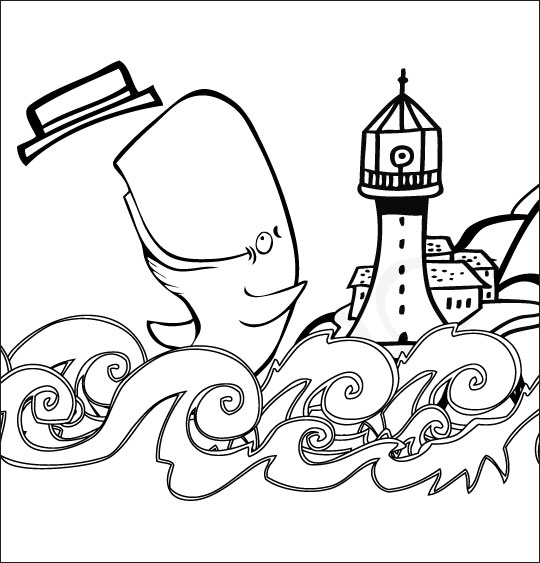 Coloriage pour enfants. Coloriage chanson La Java du Cachalot, Jo joue près du phare, catégorie Chanson pour enfants La Java du Cachalot