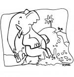 Coloriage Chanson La Marche des Éléphants, bébé éléphant patauge dans la boue