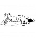 Coloriage Chanson La Marche des Éléphants, les éléphants se suivent