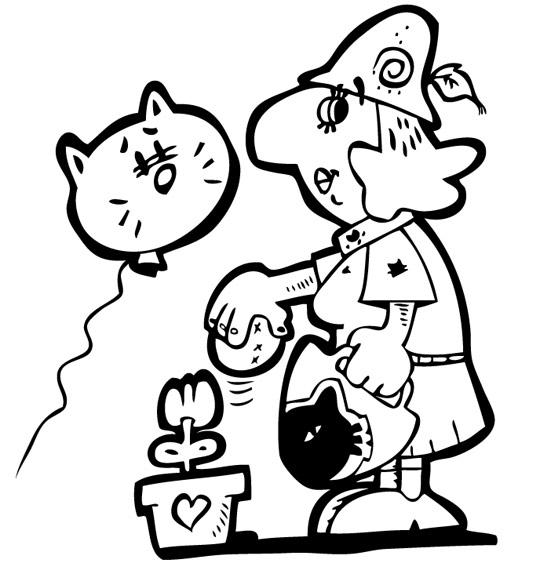 Coloriage Chanson La mère Michel, la mère Michel aime beaucoup les chats