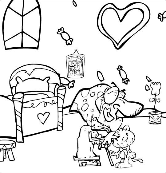 Coloriage pour enfants. Coloriage La mère Michel qui caresse son chat dans la chambre, thème Chat