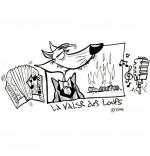 Coloriage Chanson La Valse des Loups, un loup chanteur en costume
