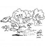 Coloriage Chanson Le furet, il court dans la forêt