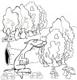 Coloriage Chanson le furet qui court dans la forêt