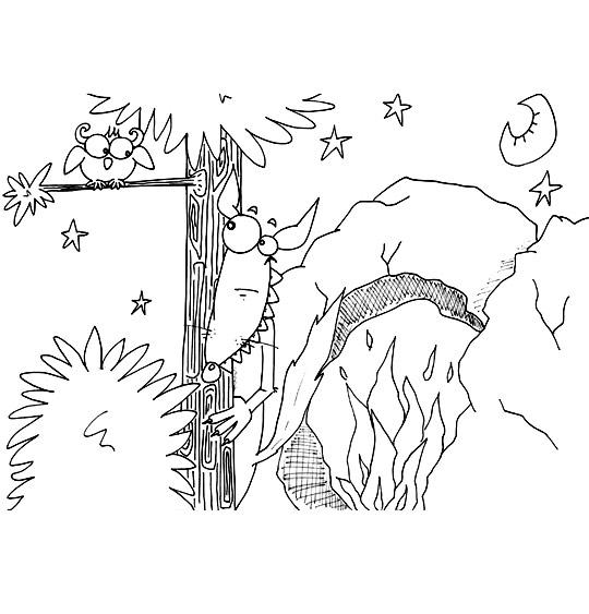 Coloriage Chanson Le Loup Sympa, caché devant la caverne