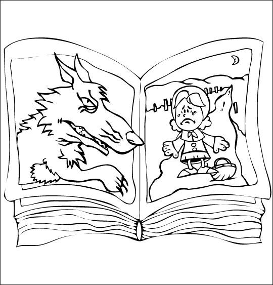 Coloriage pour enfants. Coloriage Le Loup Sympa, le livre du chaperon rouge, catégorie Chanson pour enfants Le Loup Sympa