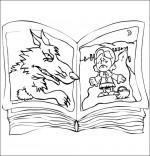 Coloriage Chanson Le Loup Sympa, le livre du chaperon rouge
