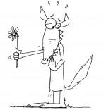 Coloriage Chanson Le Loup Sympa, le loup sympa offre une fleur
