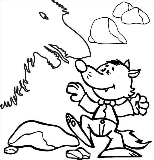 Coloriage pour enfants. Coloriage Le Loup Sympa, petit loup combat la peur, catégorie Chanson pour enfants Le Loup Sympa