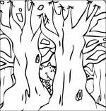 Coloriage Chanson Le Loup Sympa, petit loup derrière les arbres