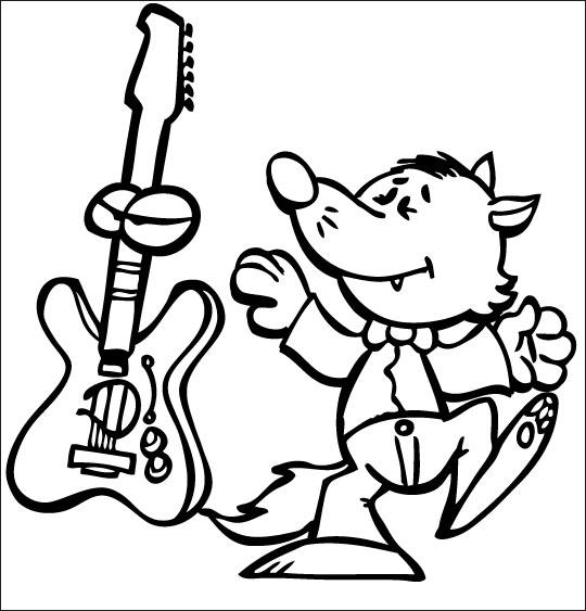 Coloriage pour enfants. Coloriage Le Loup Sympa, petit loup et la guitare électrique, catégorie Chanson pour enfants Le Loup Sympa