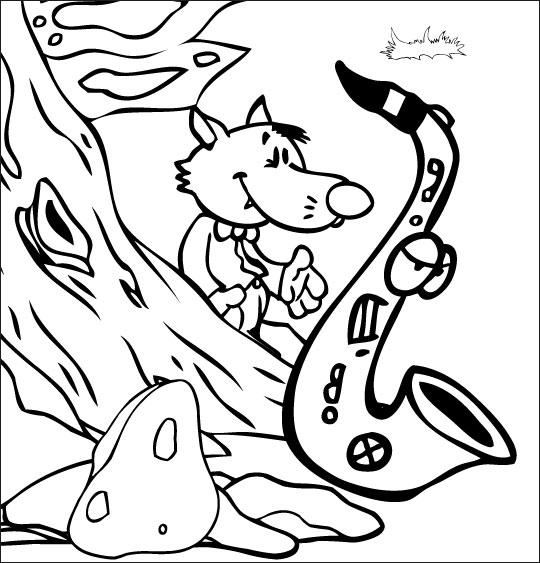 Coloriage Chanson Le Loup Sympa, petit loup et le saxo dans la forêt
