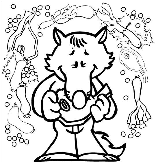 Coloriage Chanson Le Loup Sympa, petit loup mange une côte de boeuf