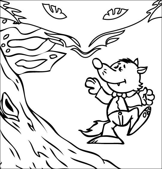Coloriage pour enfants. Coloriage Le Loup Sympa, petit loup n'a pas peur, catégorie Chanson pour enfants Le Loup Sympa