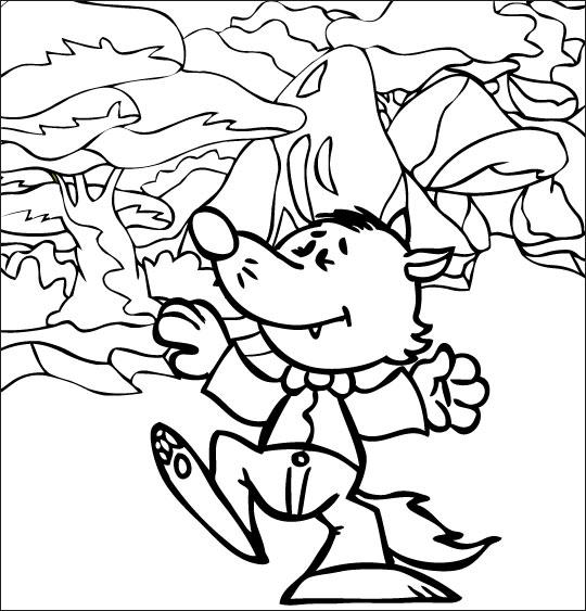 Coloriage pour enfants. Coloriage Le Loup Sympa, petit loup qui danse, catégorie Chanson pour enfants Le Loup Sympa