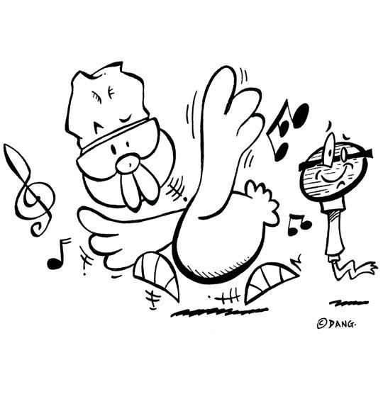 Coloriage pour enfants. Coloriage Le Rap du Poulailler, Le Rap du Poulailler, une poule qui danse, catégorie Chanson pour enfants Le Rap du Poulailler