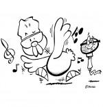 Coloriage Chanson Le Rap du Poulailler, une poule qui danse