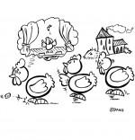 Coloriage Chanson Le Rap du Poulailler, une poule rêve d'aller à l'opéra