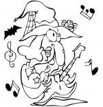 Coloriage Chanson Le Rock de la sorcière, la sorcière avec sa guitare électrique