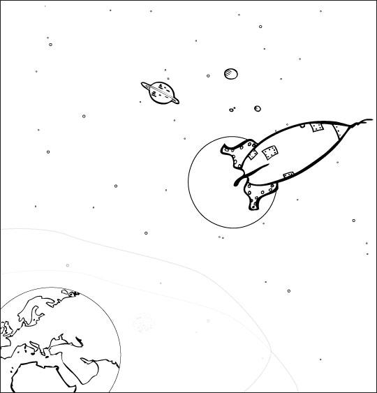 Coloriage pour enfants. Coloriage chanson Madame Fusée, la fusée est dans l'espace, catégorie Chanson pour enfants Madame Fusée