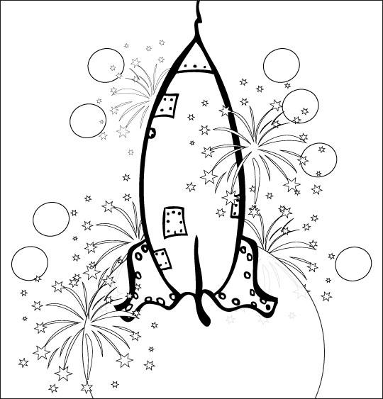 Coloriage pour enfants. Coloriage chanson Madame Fusée, la fusée décolle dans un feu d'artifice, thème Feu d'artifice