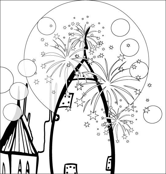 Coloriage pour enfants. Coloriage chanson Madame Fusée, la fusée est toute illuminée, catégorie Chanson pour enfants Madame Fusée