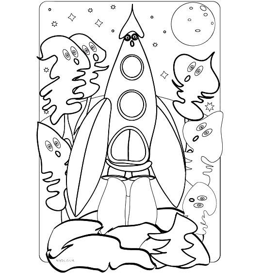 Coloriage pour enfants. Coloriage Madame Fusée, la fusée décolle, les sapins sont étonnés, illustrateur Rydlova