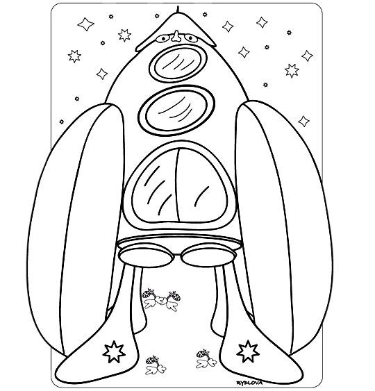 Coloriage Chanson Madame Fusée, la fusée énorme