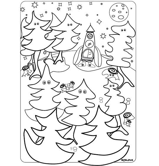 Coloriage pour enfants. Coloriage Madame Fusée, la fusée s'est endormie dans la forêt, catégorie Chanson pour enfants Madame Fusée