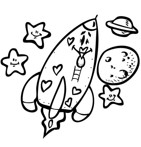 Coloriage Chanson Madame Fusée, la fusée vers les étoiles