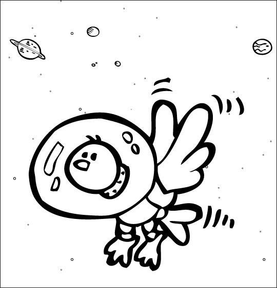 Coloriage pour enfants. Coloriage chanson Madame Fusée, un oiseau dans l'espace avec son scaphandre, thème Oiseaux