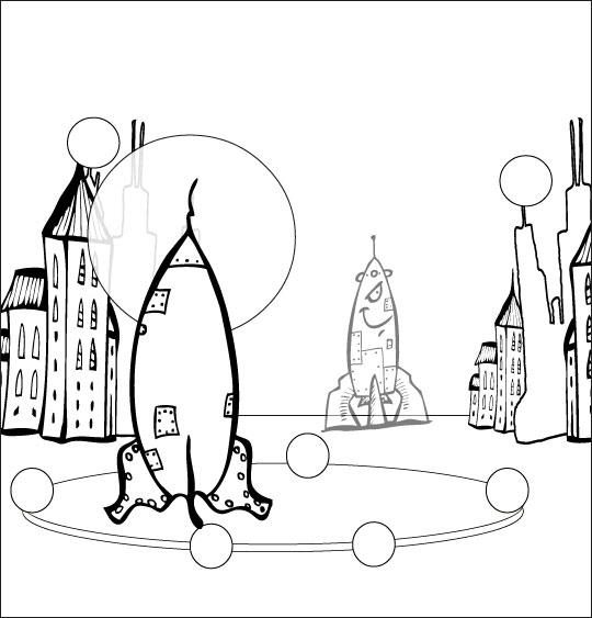 Coloriage pour enfants. Coloriage chanson Madame Fusée, la fusée est prête au décollage, catégorie Chanson pour enfants Madame Fusée