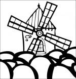 Coloriage Chanson Meunier tu dors, le moulin dans un champ de tulipe
