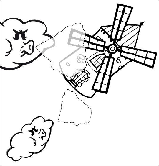 Coloriage pour enfants. Coloriage chanson Meunier tu dors, le moulin s'est envolé dans le ciel, thème Ciel
